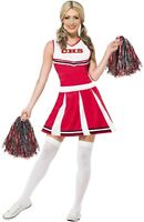 Ladies Red American Cheerleader TV Film Hen Do Party Fancy Dress Costume Outfit