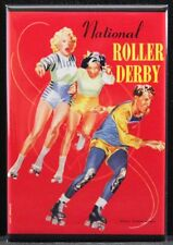 "National Roller Derby Vintage Poster 2"" X 3"" Fridge / Locker Magnet."
