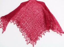 Châle russe d'Orenbourg rouge 125x125 duvet chèvre/soie tricoté main shawl chal