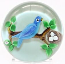 CHARMING Ray BANFORD Nest Eggs and BIRD on BRANCH Art Glass PAPERWEIGHT