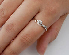 USA Seller Music Note Ring with CZ Sterling Silver 925 Best Deal Jewelry Size 6