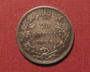 1899 CANADA 25 CENTS - QUEEN VICTORIA STERLING SILVER, STRONG DETAILS, MOTTLED