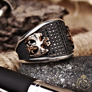 Mens Double Head Eagle Signet Ring Coat Arms Heraldic Jewelry Anniversary Gift