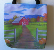 13X13 Tote Bag w/ Fall Scene with Red Barn