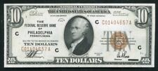 FR. 1860-C 1929 $10 FRBN FEDERAL RESERVE BANK NOTE PHILADELPHIA, PA ABOUT UNC
