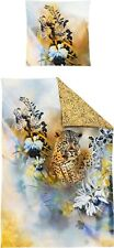 Irisette Mako Satin Bettwäsche Opal 8890-90 Leopard Blumen Orchidee 135x200