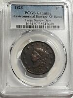 1828 - PCGS GENUINE XF DETAILS LARGE NARR DATE CORONET HEAD LARGE CENT
