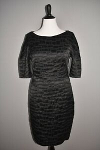 TALBOT RUNHOF NEW $1550 Poise1 Dress in Black Half Sleeve Sheath Size 14