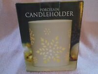 Sealed Porcelain Snowflake Pillar Candle Holder NIB