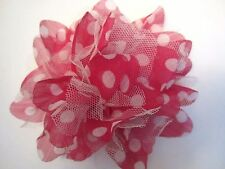 "6""  **POLKA DOT - NET**  FLOWER Brooch Pin Back - RASPBERRY RED & WHITE"