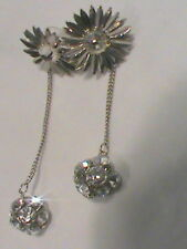Silver Tone Flower with Removable Rhinestone Dangling Ball Earrings