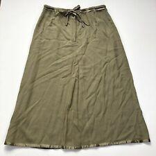 J. Jill solid green ribbon hem tie button waist Long Skirt womens size 10