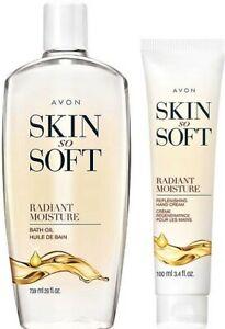 Avon Skin So Soft Bath Oil BONUS SIZE 25 oz Radiant Moisture W Free Hand Cream