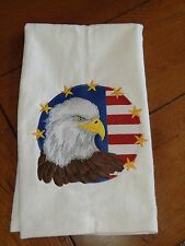Embroidered Velour Hand Towel - 4th of July - Eagles Head W/Flag & Stars