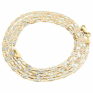 Real 10K Tri-Tone Gold Solid Valentino Link Chain 2mm Necklace 16 - 24 Inches