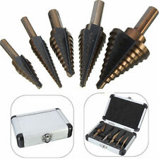 5PCS Large Step Down Variable Inch Size Steel Drill Bit Unibit Set Tool w/ Case