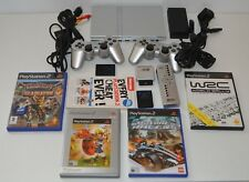 Sony PlayStation 2 PS2 Silver Slim Slimline Console 2 controllers 4 games & More