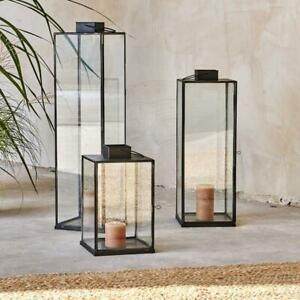 Black Metal Glass Lantern X Small Rectangular Square Tea Light Holder Sia Nkuku