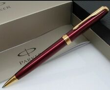 PARKER SONNET RED BALLPOINT PEN WITH GOLD TRIM(FREE VELVET POUCH)