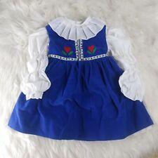 Jayne Copeland VTG Heidi Dress Toddler Girls Corduroy Cosplay Puff sleeves 4T
