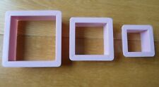 Square Cookie Cutter 3 Pcs Set Shapes Biscuit Cake Pastry Bake Mould Pink