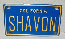 VINTAGE MINI CALIFORNIA SHAVON LICENSE PLATE NAME TAG SIGN BICYCLE