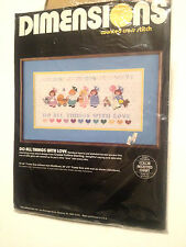 VINTAGE 1985 DIMENSIONS CROSS STITCH KIT- DO ALL THINGS WITH LOVE - HEARTS/GIRLS