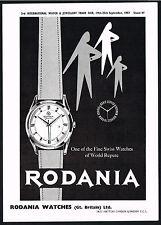 1950s Vintage 1957 Rodania Swiss Jubile Watch Mid Century Modern Art Print Ad