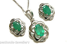 9ct White Gold Emerald Celtic Pendant and Earring Set Made in UK