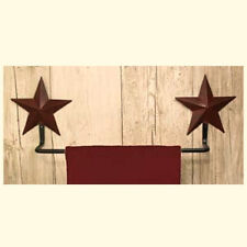 New Primitive Bathroom Kitchen Burgundy Barn Star Towel Bar Holder Rack
