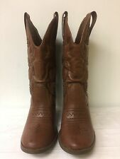 MOSSIMO women  Sz 8 Brown Faux Leather Cowboy Boots Studs & Heels