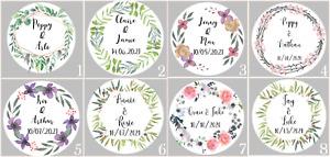 24 Personalised Stickers Botanical Floral Wedding Favours Envelope Seals