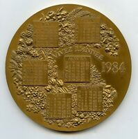 France Bronze Art Calendar Medal 1984 95mm 335gr