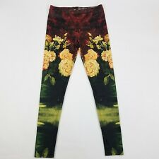 Yizzam Womens Legging Sze M Maroon Black Van Gogh Art Flower Painting Print USA