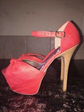 Womens Qupid Salmon Open Toes Platform Sandals With Cork Heel Size 6.5