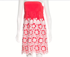 Tibi dress size 4 silk coral red white embroidered floral strapless adorable!EUC