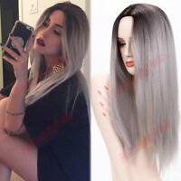 """24"""" Synthetic Long Straight Hair Ombre Gray Wig Middle Part Wigs Cosplay Wigs"""
