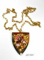 Czech Art Glass Cabs Shield Pendant Necklace Renaissance Revival *