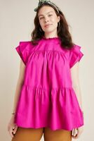 Anthropologie Maeve Ophelia Babydoll Tunic Top Pink Ruffle Pleated New S Casual