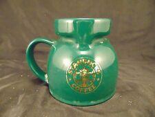 Coffee mug Tea cup Starbucks Travel Commuter green gold logo Siren Mermaid Art