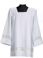 SURPLICE COTTA Latin Cross and IHS Lace Catholic Square Neck Cotton Blend