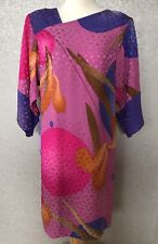 Flora Kung Vintage 100% Silk Dress SZ 6 Pink Purple Kimono Sleeves Sheath Womens