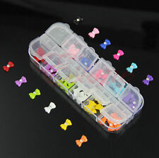 60Pcs 3D Glitters Bow Tie Rhinestone Nail Art Stickers Decoration Tips 12 Colors