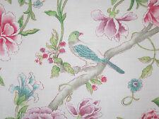 "Sanderson Curtain Fabric ""porcelain Garden"" 3 Metres Magenta & Leaf DCAVP0206"