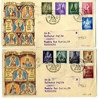 2 Sobres primer dia sellos España 1954 Año Mariano 24 diciembre
