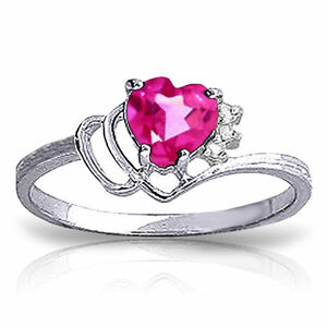 Genuine Pink Topaz Heart Gemstone & Diamonds Ring 14K Yellow, White, Rose Gold