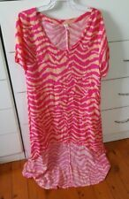 BOHO AUSTRALIA Kaftan Beach Boho Dress Hi Low size M Hot Pink Animal Print