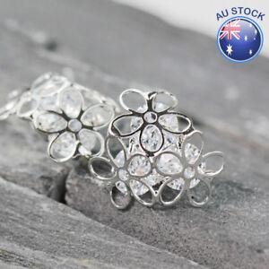 Genuine 925 Sterling Silver Women Pretty Filigree Flower Crystal Stud Earrings