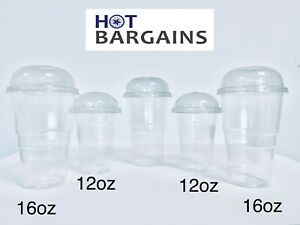 Smoothie Cups And Dome Lids 10OZ/12oz / 16oz Clear Party Cups For Milkshake Juic