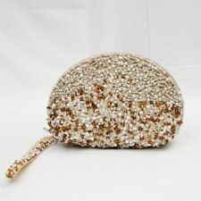 BEADED TAN PURSE BEIGE WHITE BROWN BEADS BY SUZIE BLUE
